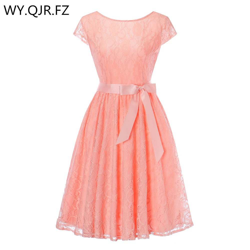 OML515#Pink Lace short sleeved Ball Gown Bridesmaid dresses wedding party prom dress girl cheap wholesale women fashion clothing