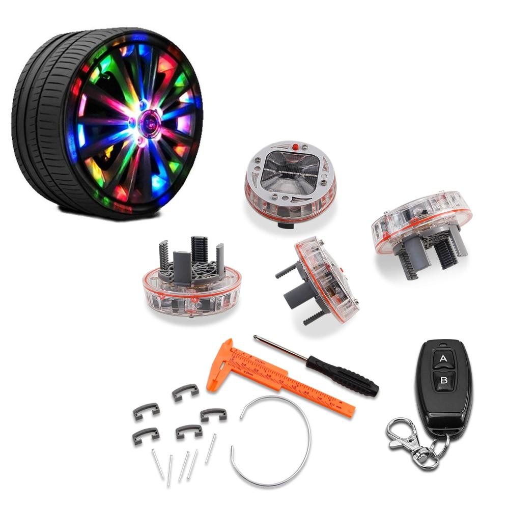 GEETANS 4PCS lot Car Decoration Wheel Tire Hub Solar Energy Auto Flash Discoloration LED Auto Styling