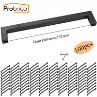 Probrico 10 PCS Black 12mm 12mm Square Bar Handle Stainless Steel CC 192mm Cabinet Knob Furniture