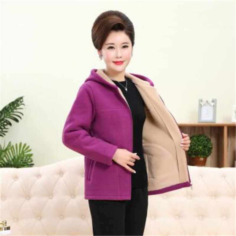 Middle-aged new women winter plus velvet warm Solid color coat large size 5XL Slim fleece top coat Short hooded women coat G862