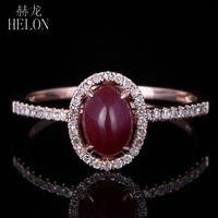 Helon стоит! 14 К розовое золото 7x5 мм Овальный Форма ruby & Pave Diamonds филигрань Обручение Свадебные Ювелирные украшения кольцо