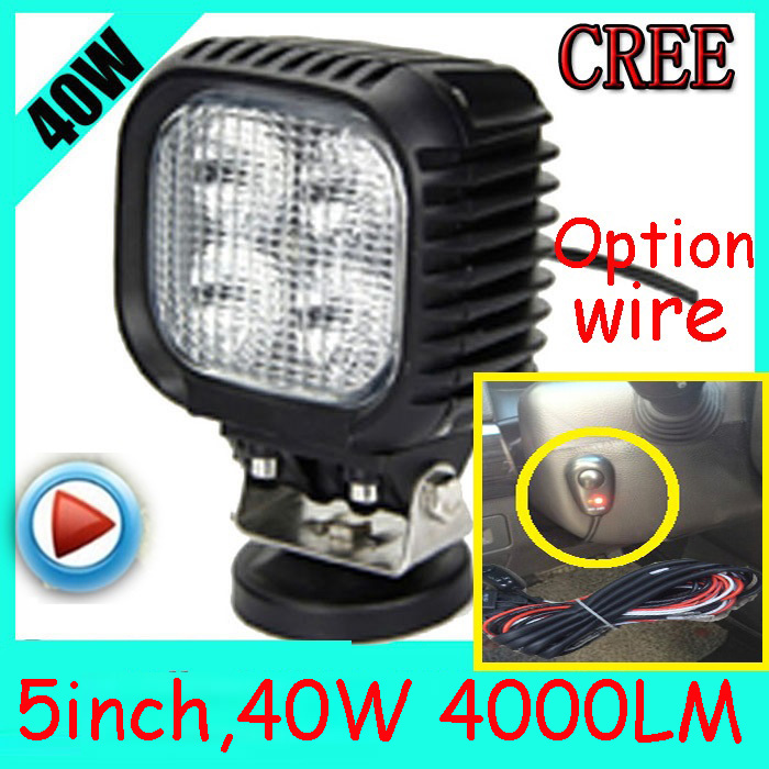 Free DHL/UPS Ship,5 40W 4000LM 10~30V,6500K,LED working light;Free ship!Optional wire;motorcycle light,forklift,tractor light only 48usd pcs 5 5 27w 2400lm 10 30v 6500k led working light free ship optional wire motorcycle light forklift tractor light