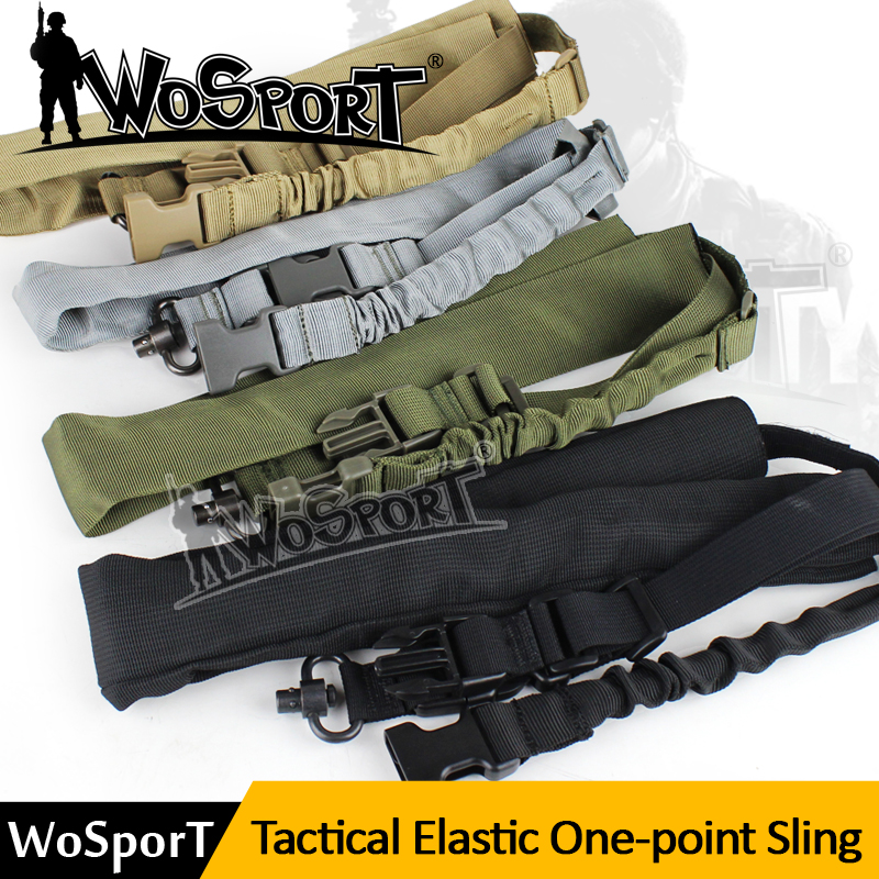 WOSPORT Táctico Un 1 Punto Rifle Sling Bungee Sling Arma Militar de Nylon Ajusta