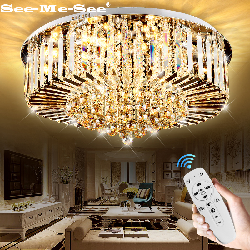 Modern luxury 9K Crystal Ceiling Light For Living Room Indoor Lamp with Remote Controlled Luminaria Home Decoration Ceiling LighModern luxury 9K Crystal Ceiling Light For Living Room Indoor Lamp with Remote Controlled Luminaria Home Decoration Ceiling Ligh