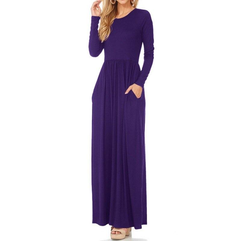 Элегантный карман драпированные длинное платье макси Для женщин Однотонная повседневная обувь платье с круглым вырезом и длинными рукавам...