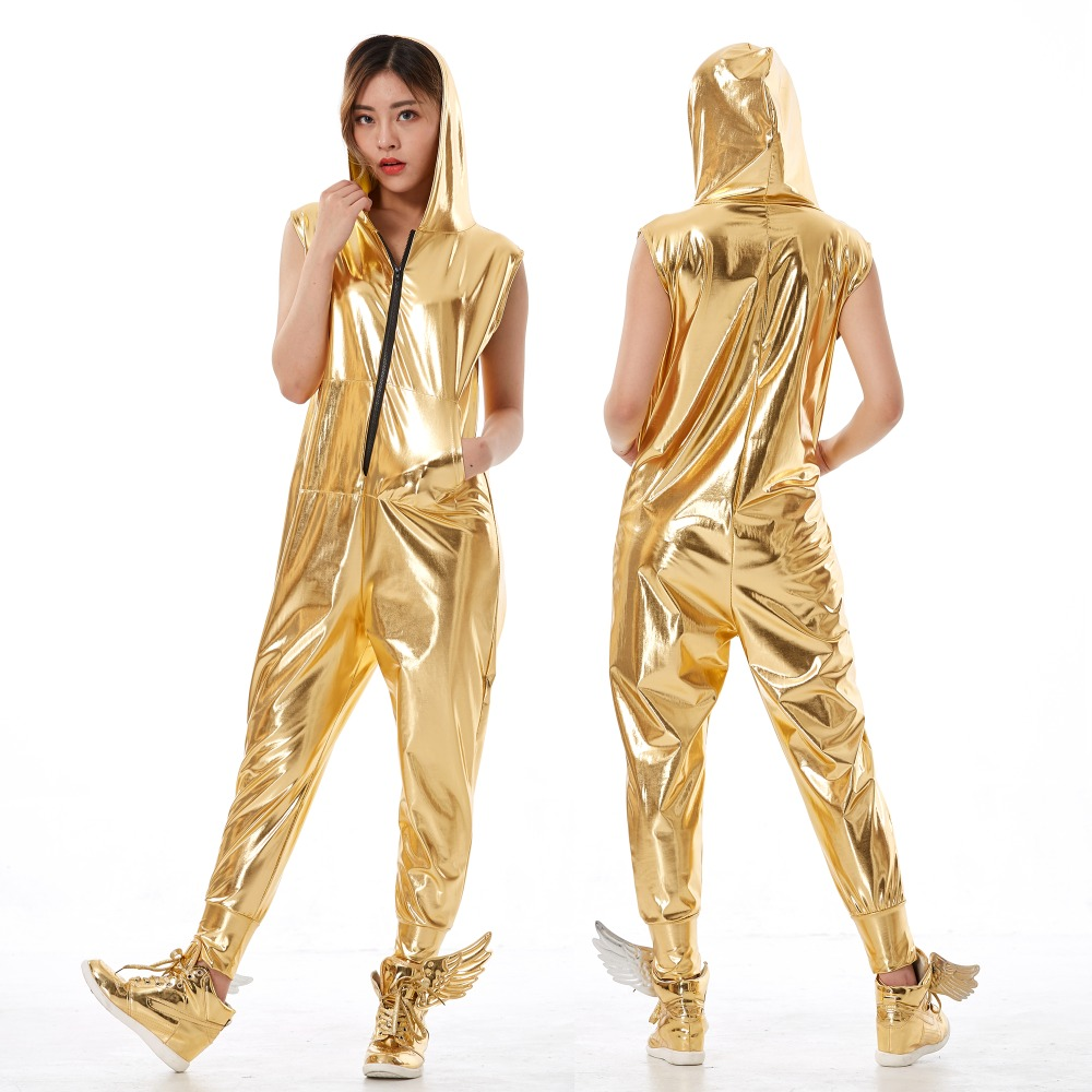 Spring Summer Hip Hop Dance Costume Stage Performance Wear European Loose Harem Jazz Kids Adult Gold Jumpsuit One Piece Pants in Jumpsuits from Women 39 s Clothing