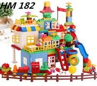 جديد HM182 كتل لعب 210 قطع كبيرة اللبنات ملعب للأطفال ألعاب تعليمية للأطفال متوافق مع duploe
