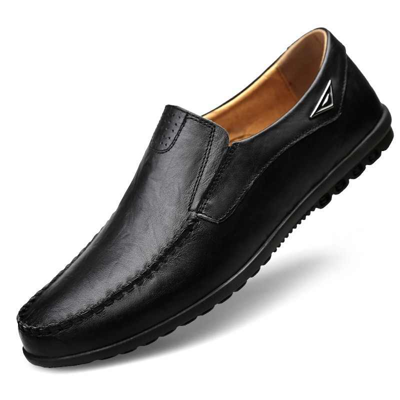 Men Casual Shoes Luxury Brand Genuine Leather Mens Loafers Moccasins Comfy Breathable Slip on Driving Shoes Plus Size JKPUDUN