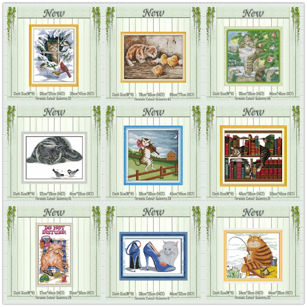 snow Christmas cats kitten painting counted printed on canvas DMC 14CT 11CT Chinese Cross Stitch Needlework Sets Embroidery kits