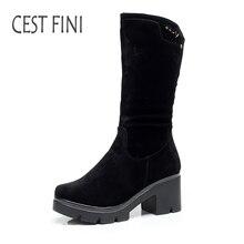 Cestfini модные ботинки до середины икры из флока Сапоги и ботинки для девочек для Для женщин зимние Высокие каблуки резиновая Сапоги и ботинки для девочек плюшевые Сапоги и ботинки для девочек Черная Женская обувь размеры 36-41 # B023