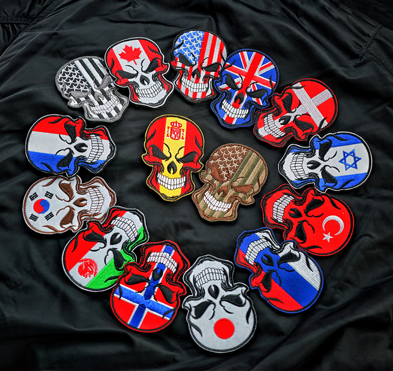 Skull National Flag Embroidery Patches USA Spain France Turkey 9x6cm DIY Appliques Accessory Hoop and Loop(China)