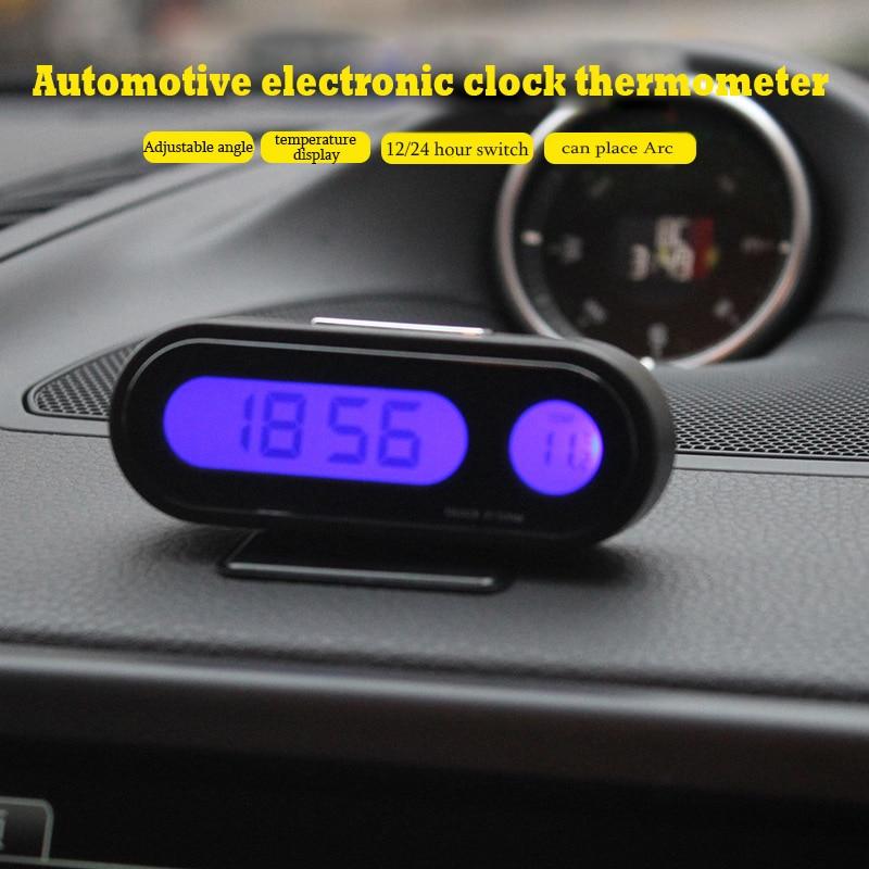 Bonne Qualité De Voiture Horloge Auto Véhicule Mini Rétro-Éclairage Vute Thermomètre Horloge Temps De Voiture Montre Électronique K02