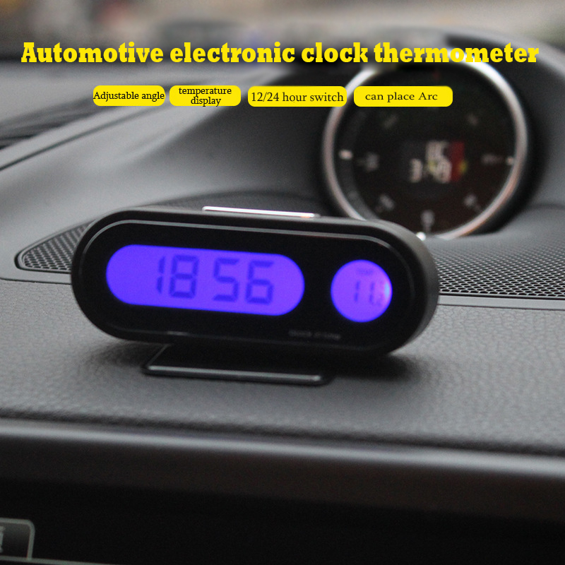Good Quality Car Clock Auto Vehicle Mini Backlight Vute Thermometer Clock Time Car Electronic Watch K02