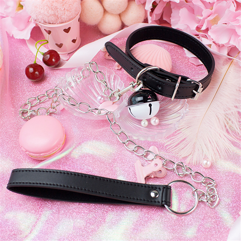 Sexy Harajuku Handmade Gothic Choker Leash Chain Punk Leather Collar Belt Necklace With Bells Sex Toys For Couple Lovely Collar