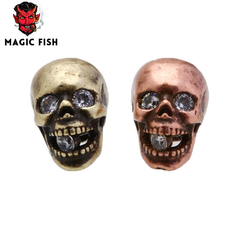 Magic Fish 10 pcs/a lot DIY Beads Skull Alloy White crystal eye Hand made Men bracelets&bangles Wholesale Jewlery Accessories