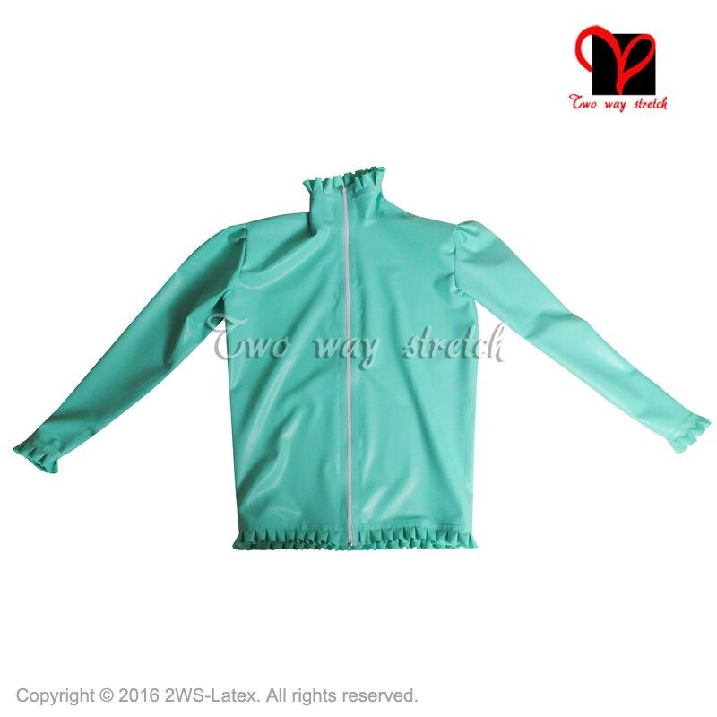 Sexy avec volants chemise en Latex manches longues avant fermeture à glissière Gummi uniforme en caoutchouc Top vêtements vêtements grande taille SY-067