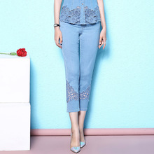 Summer calf-length thin jeans large size womens fashion lace embroidery hollow out breathable cotton for women