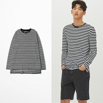 Mode coréenne marée marque rétro noir blanc bande drôle t-shirts X Hunter Tokyo Ghoul t-shirt à manches longues hommes coton qualité t-shirt