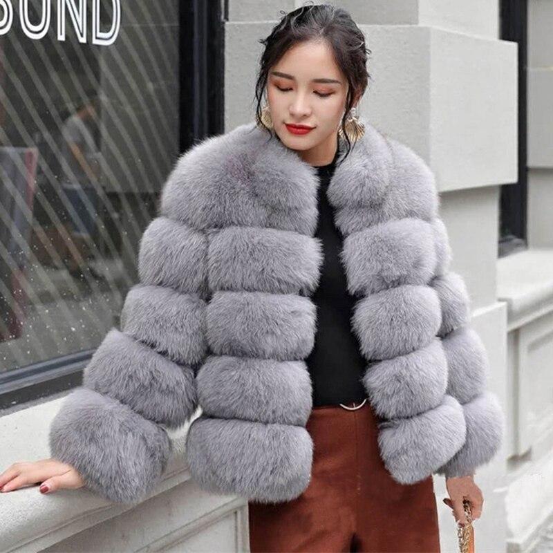ZADORIN 2018 New Winter Coat Women Faux Fox Fur Coat Plus Size Women Stand Collar Long Sleeve Faux Fur Jacket Fur gilet fourrure