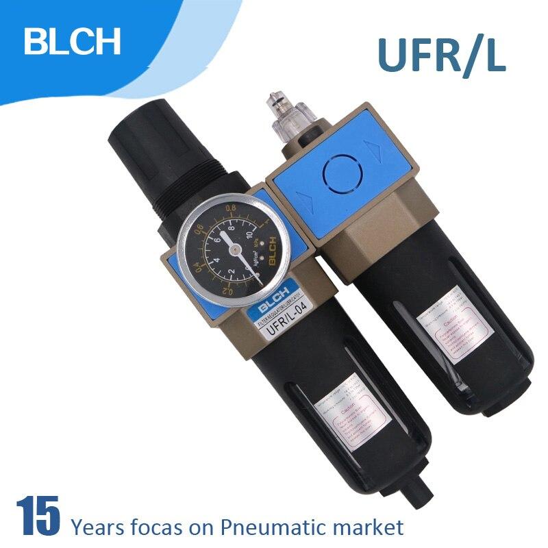BLCH Air Filter Regulator Combination Lubricator UFR/L RC1/4 3/8 1/2 3/4 1 Oil Water Separator Trap Filter RegulatorBLCH Air Filter Regulator Combination Lubricator UFR/L RC1/4 3/8 1/2 3/4 1 Oil Water Separator Trap Filter Regulator
