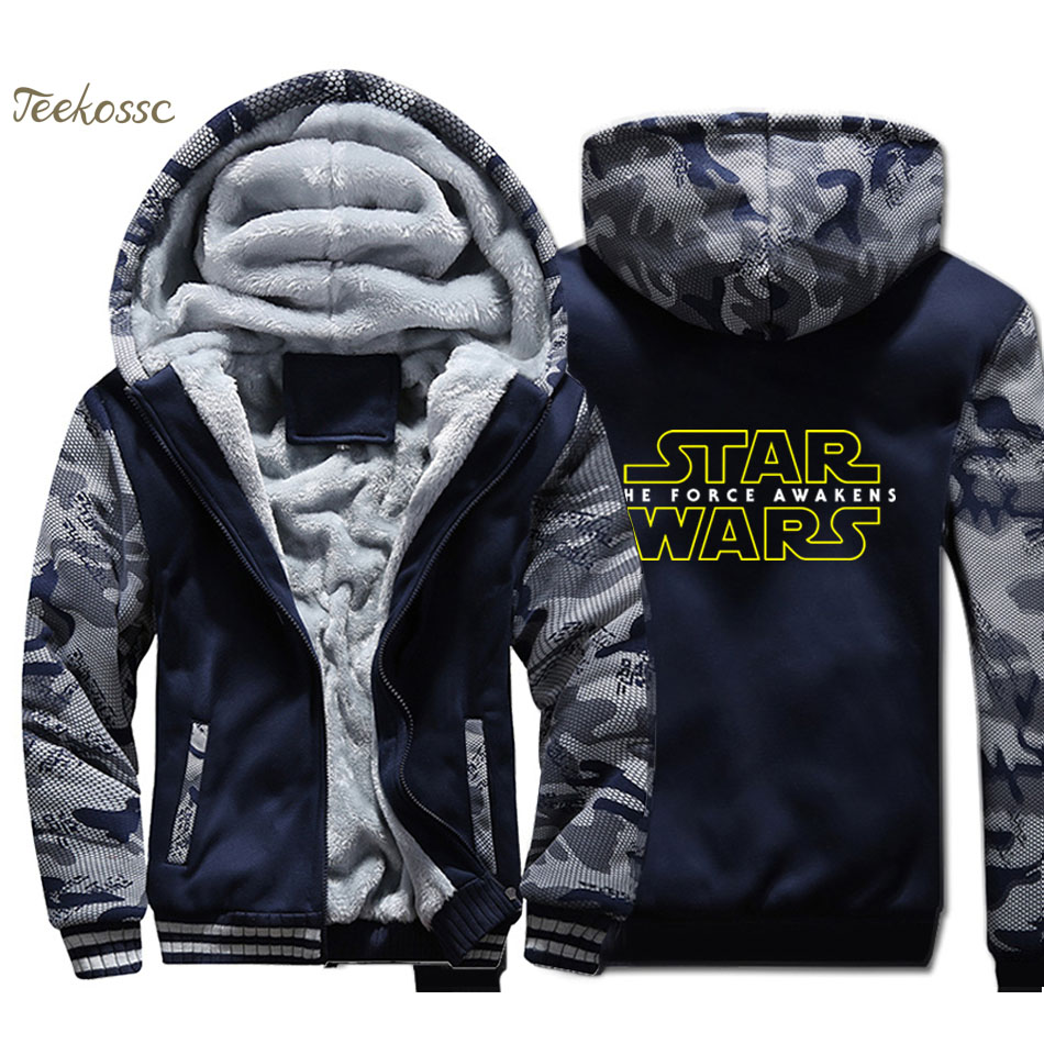 Star Wars Hoodie Men Darth Vader Hooded Sweatshirt Coat 2018 Winter Thick Fleece Warm Camouflage Jacket Brand Sportswear Mens