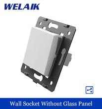 WELAIK Push Button 1Gang2Way Switch DIY Parts Manufacturer of Wall Light Switch White Crystal Glass Panel AC 110-250V A712