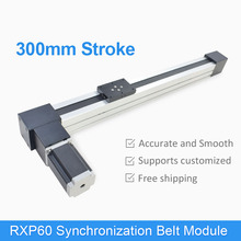 RXP60 300 mm CNC Belt Drive Linear Guide Slide Rail Actuator Motorized Stage 0.1 mm Accuracy