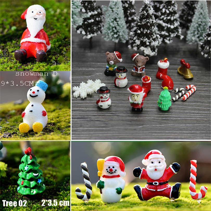 Christmas Trees/Santa Claus Snowman Figurines Miniature Fairy Garden Terrarium Figures Doll House Kids Toys DIY Gift Accessories