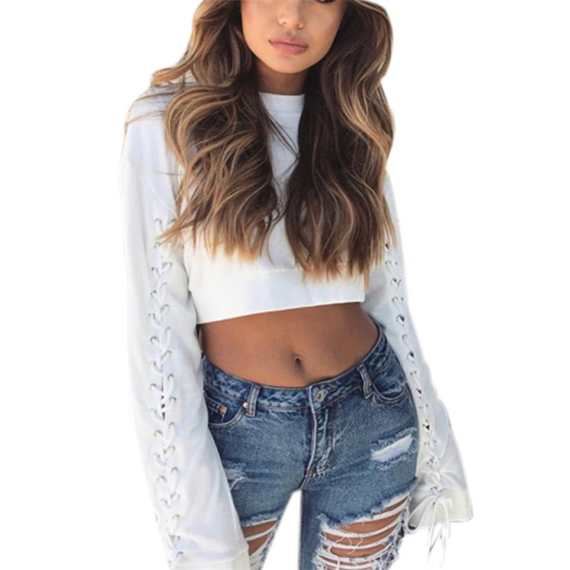 vintage Solid Color hooded sweatshirt oversized long Side Bandage sleeve pullover casual Crop White tops sudaderas WT#T3