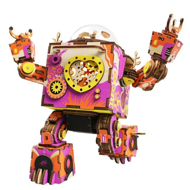 Valentine assmebling creative wooden 3D pazzle music box robots block DIY dollhouse