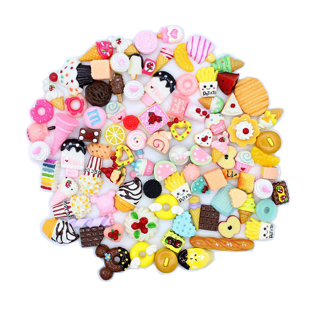 20pcs/lot Mix Kawaii Food, Cute Unicorns, Resin Flatback Cabochons for Phone Deco, Scrapbooking, DIY
