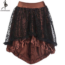 Lace Overlay Skirt Women Empire England Style Plus Size Assymetrical Back Zip Satin Knee-length Black Coffee Floral Punk Skirts