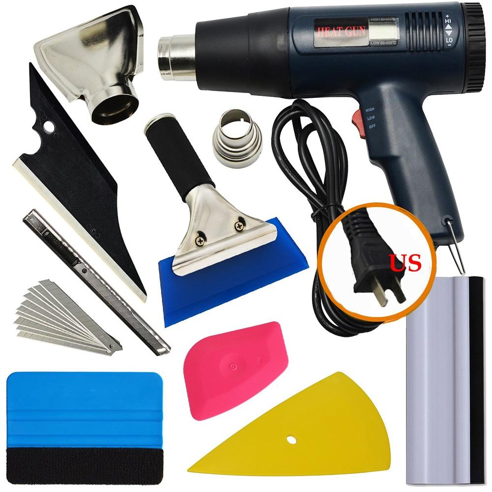EHDIS Vinyl Car Wrap Tool Set US/EU/AU Electric Hot Air Gun LCD Heat Gun Car Sticker Scraper Knife Window Tint Car Accessories