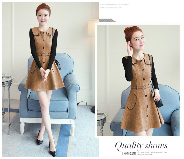 winter new round collar single-breasted cloth dress belt buttons A word women dresses Korean fashion outfit lady vogue vestido 24