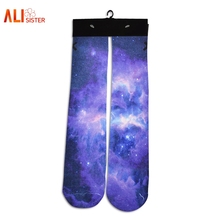 3d Galaxy Printed Nebula Sock Fashion Casual Long Socks Elastic High Quality Cotton Socks For Men/women Hispter 1pair Dropship