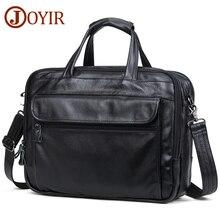 JOYIR Men Briefcases Genuine Leather Handbag 15Laptop Briefcase Messenger Shoulder Crossbody Bag Mens Business Portfolio