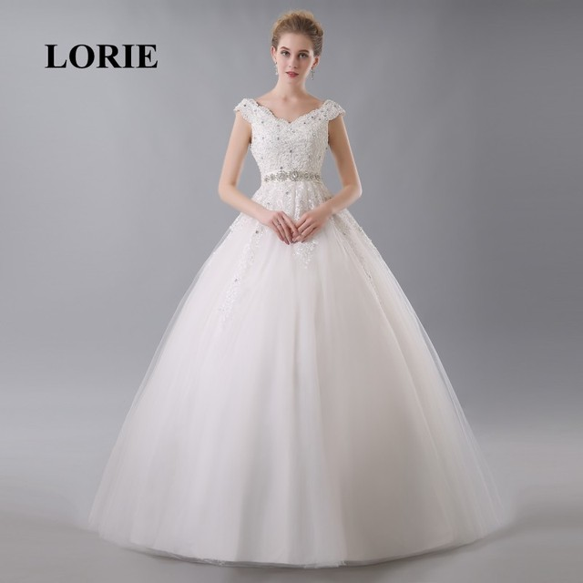 LORIE Ball Gown Wedding Dress Online China Appliques V Neck Beaded ...