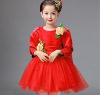 Varejo sete diferentes cores crianças menina vestido floral menina vestido de festa completa vestido de baile vestido de casamento da princesa vestido HB2152