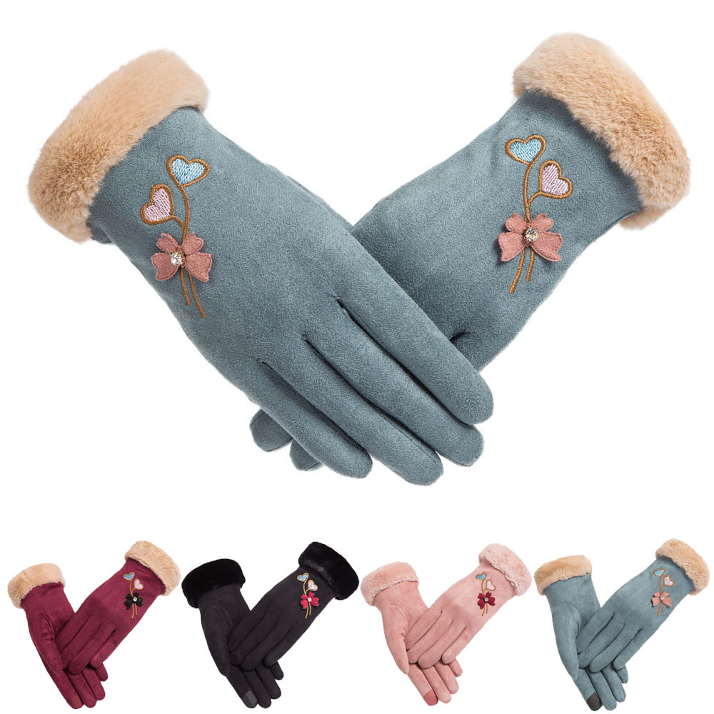 2018 womens fashion winter solid full finger hand outdoor sport warm faux suede gloves black,blue,pink,red color
