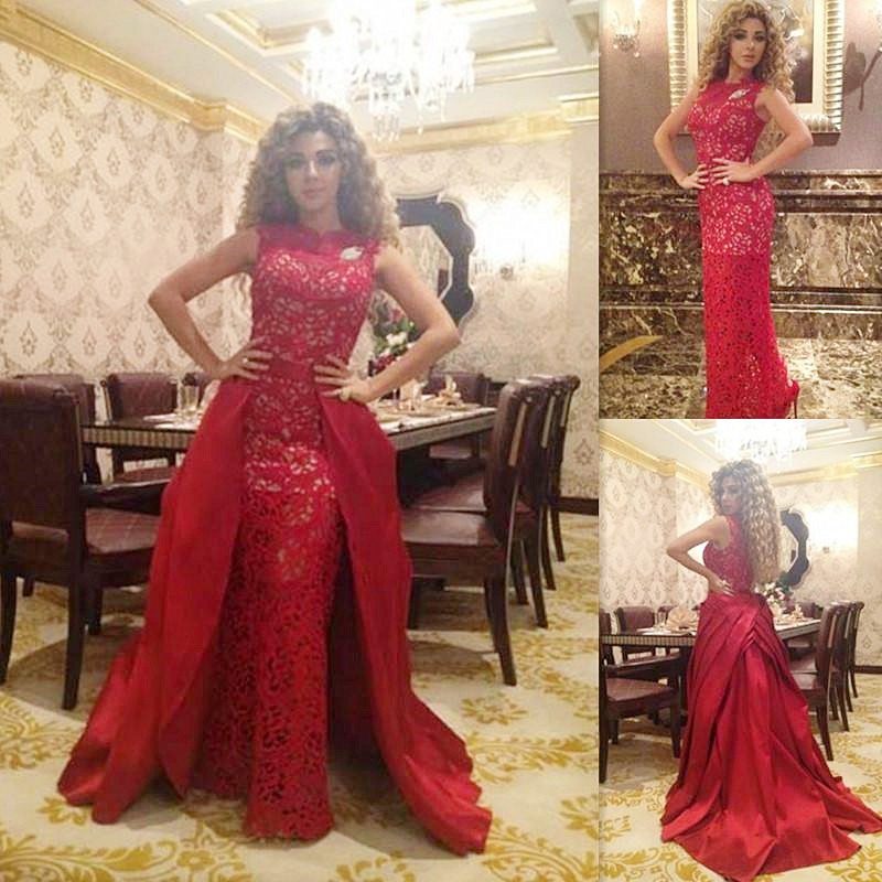 Elegant Red Lace Floor Length Evening Dress Long Formal