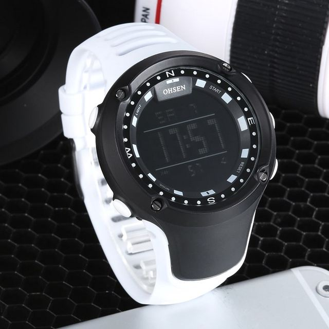 e1b8dc39865 OHSEN Fashion LCD Digital Electronic Mens Wristwatch 50M Waterproof White  Sports Military Hand male Clocks relogio masculino