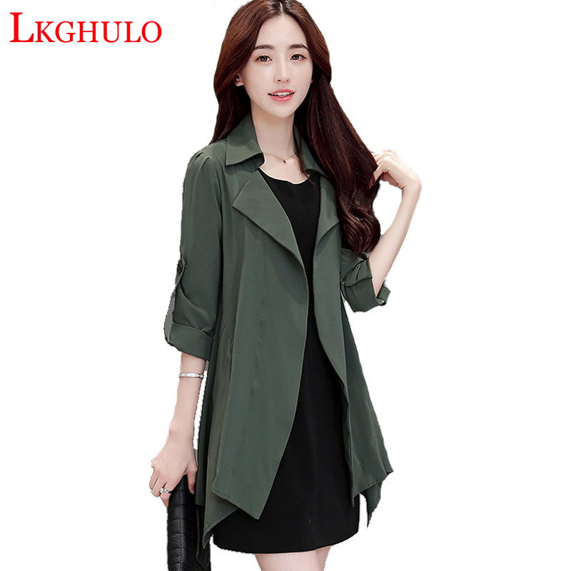 Spring Autumn Women Coat European style Long Sleeve Casual   Trench   Coat Long Maxi Fashion Slim   Trench   Coats Plus Size S-4XL W213