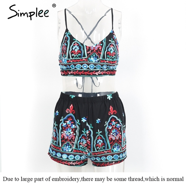 Simplee Embroidery flower elegant jumpsuit romper V neck strap summer jumpsuit women outfit Sexy 2017 beach playsuit overalls