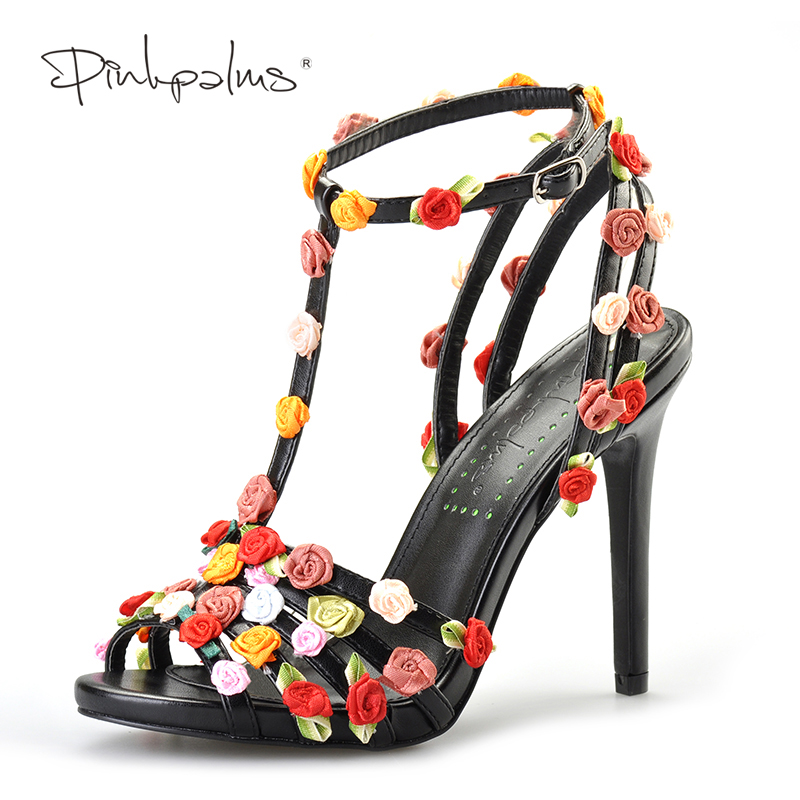 Pink Palms women summer sandals floral high heel shoes black custom handmade sweet flowers sandals the palms 4 о пхукет