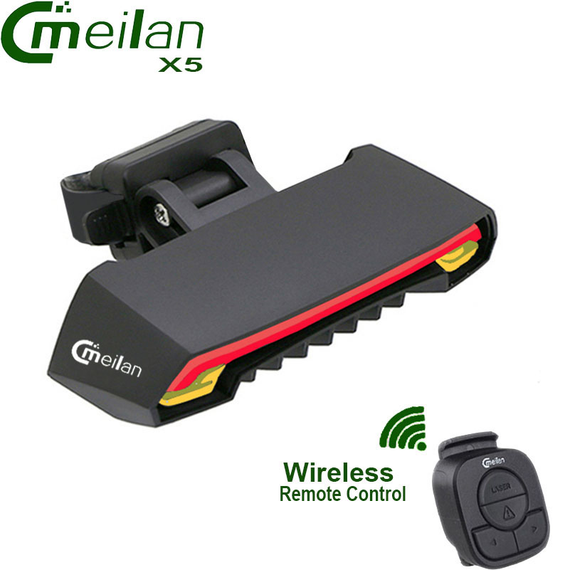 Meilan X5 Wireless Bike Bicycle Rear Light laser tail <font><b>lamp</b></font> Smart USB Rechargeable Cycling Accessories Remote Turn led