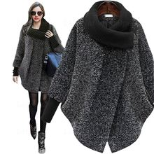 Autumn Winter Wool Coat Women Woollen Cloak Laipelar 2018 New Thick Cashmere Cape Jacket Knitted Turtleneck Poncho Top Plus size