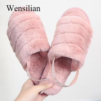 Winter Slippers Women Fur Slides Wram Flip Flops Fashion Home Slippers Ladies Solid Indoor Shoes Woman