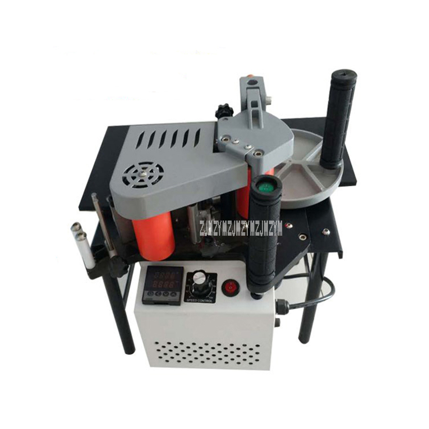 FC1001S Wood PVC Edge Banding Machine Double-sided Gluing Adjustable Speed with Tray and Cut Edge Bander 110V/200V 750W open shoulder raw edge cut and sew crop pullover