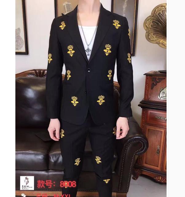 M-3XL estilo Britânico dos homens NOVOS bordado flor Magro ternos Do Noivo vestido de noiva figurinos cantor (Terno + Calças)