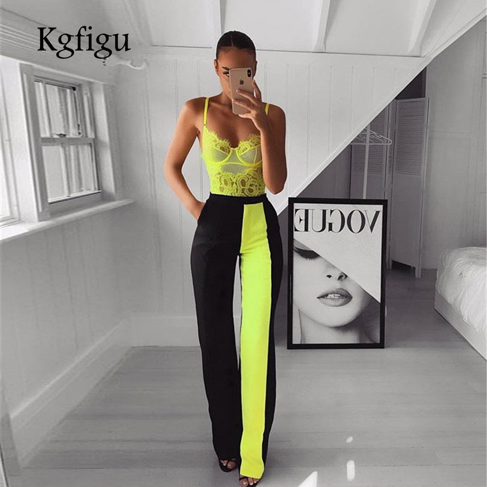 KGFIGU office lady wear outfits 2019 Summer neon green high waisted   wide     leg     pants   casual trousers women palazzo   pants